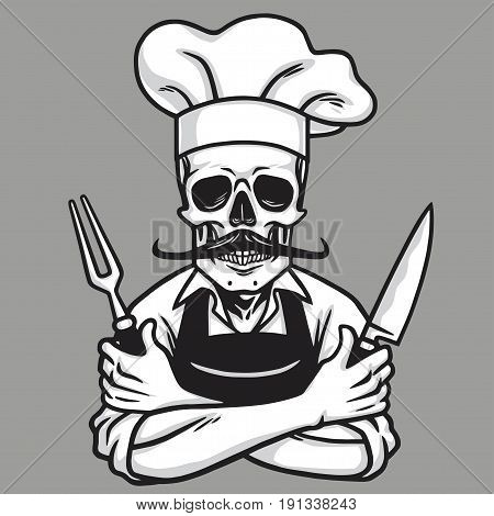 Dead Skull Chef Grinning with Fork, Knive, and Hat. Vector Drawing poster