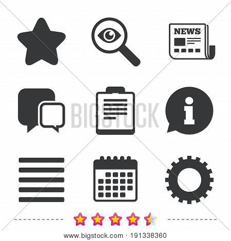 Star favorite and menu list icons. Checklist and cogwheel gear sign symbols. Newspaper, information and calendar icons. Investigate magnifier, chat symbol. Vector