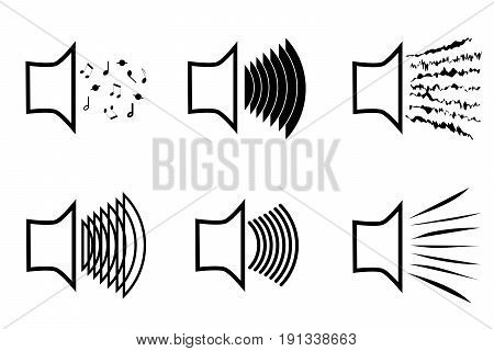 A set of megaphone icons emitting a variety of sound waves. A vector image of the musical columns from which different sounds burst out. Notes and fluctuations.