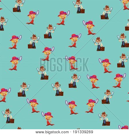 Beautiful liitle girl and boy happiness childhood young cute person dressed like grown people vector illustration. Adorable lifestyle joyful preschool expression kids seamless pattern.