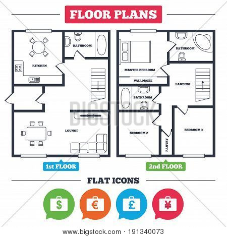 Architecture plan with furniture. House floor plan. Businessman case icons. Cash money diplomat signs. Dollar, euro and pound symbols. Kitchen, lounge and bathroom. Vector
