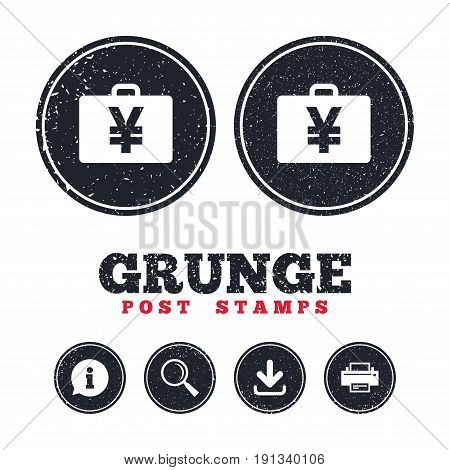 Grunge post stamps. Case with Yen JPY sign icon. Briefcase button. Information, download and printer signs. Aged texture web buttons. Vector