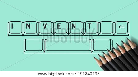 Invent on keyboard with pencil graphic