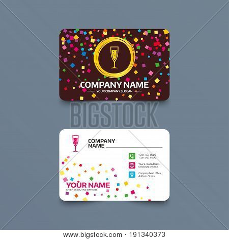Business card template with confetti pieces. Glass of champagne sign icon. Sparkling wine with bubbles. Celebration or banquet alcohol drink symbol. Phone, web and location icons
