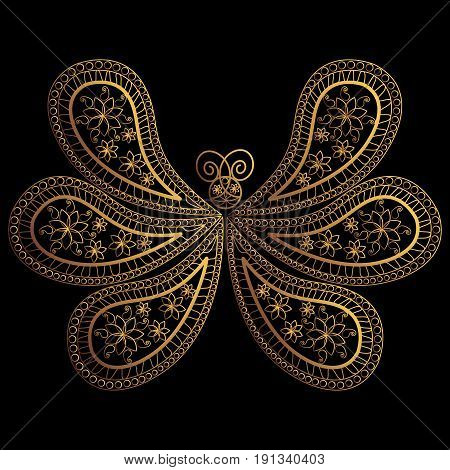 Butterfly. Oriental paisley pattern. Ornament in the form of a butterfly with gold threads and lines. Stylized Butterfly. Indian ornament. Can be used as a print on clothes a T-shirt.