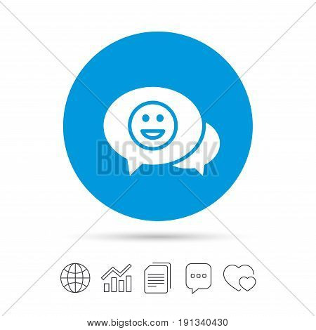 Chat Smile icon. Happy face chat symbol. Copy files, chat speech bubble and chart web icons. Vector