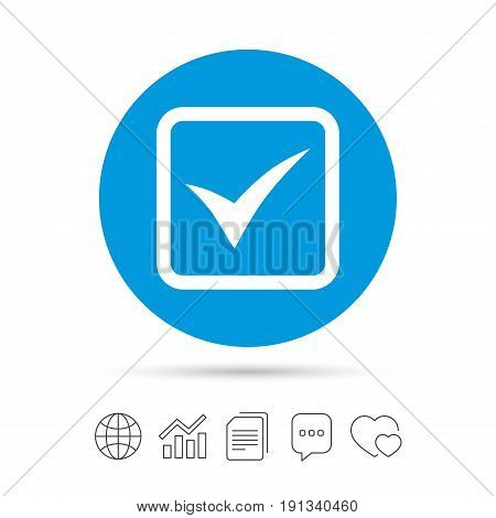 Check mark sign icon. Yes square symbol. Confirm approved. Copy files, chat speech bubble and chart web icons. Vector