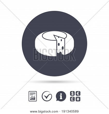 Cheese wheel sign icon. Sliced cheese symbol. Round cheese with holes. Report document, information and check tick icons. Currency exchange. Vector
