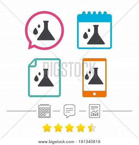 Chemistry sign icon. Bulb symbol with drops. Lab icon. Calendar, chat speech bubble and report linear icons. Star vote ranking. Vector