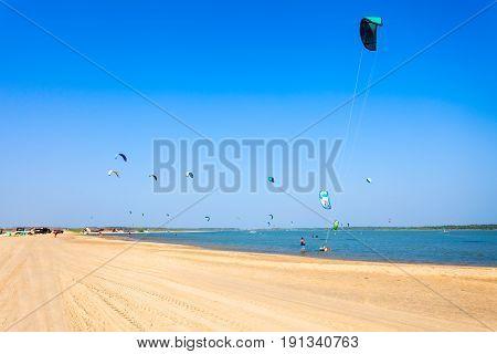 Kitesurfers At Kalpitiya Beach