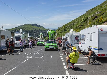 Pas de Peyrol France - July 62016: Skoda caravan during the passing of the Publicity Caravan on the road to Pas de Pyerol (Puy Mary) in Cantalin the Central Massif during the stage 5 of Tour de France on July 6 2016. Skoda provides the official car of the