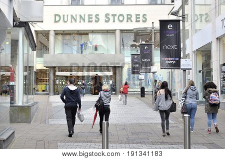 Shop Street Galway, Ireland June 2017, Eyre Square Shopping Centre Entrance, Dunnes Store Front Stor