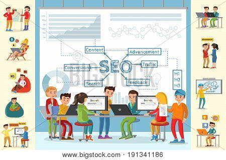 Business analysis infographic concept with people working in office on optimization of main seo strategy indicators vector illustration