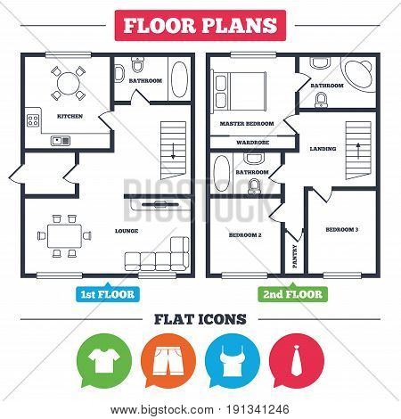 Architecture plan with furniture. House floor plan. Clothes icons. T-shirt and bermuda shorts signs. Business tie symbol. Kitchen, lounge and bathroom. Vector