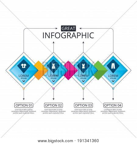 Infographic flowchart template. Business diagram with options. Clothes icons. T-shirt with business tie and pants signs. Women dress symbol. Timeline steps. Vector