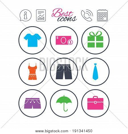 Information, report and calendar signs. Clothing, accessories icons. T-shirt, business case signs. Umbrella and gift box symbols. Phone call symbol. Classic simple flat web icons. Vector