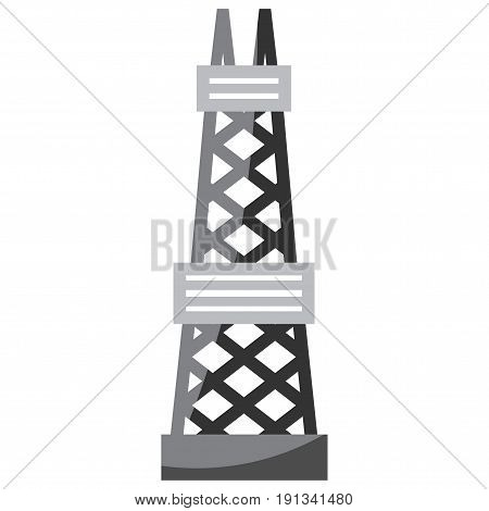 black-and-white tower for natural gas extraction vector