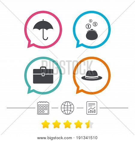 Clothing accessories icons. Umbrella and headdress hat signs. Wallet with cash coins, business case symbols. Calendar, internet globe and report linear icons. Star vote ranking. Vector