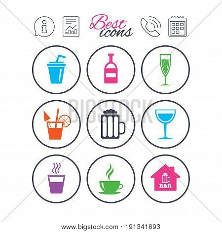 Information, report and calendar signs. Coffee, tea icons. Beer, wine and cocktail signs. Soft and alcohol drinks symbols. Phone call symbol. Classic simple flat web icons. Vector
