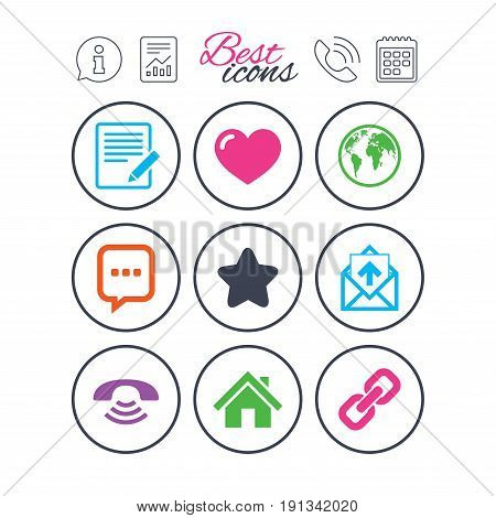 Information, report and calendar signs. Mail, contact icons. Favorite, like and internet signs. E-mail, chat message and phone call symbols. Phone call symbol. Classic simple flat web icons. Vector