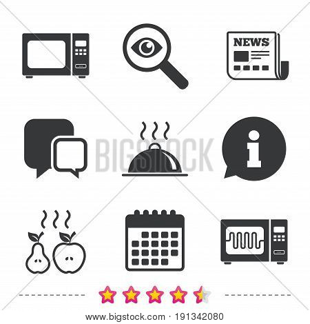 Microwave grill oven icons. Cooking apple and pear signs. Food platter serving symbol. Newspaper, information and calendar icons. Investigate magnifier, chat symbol. Vector