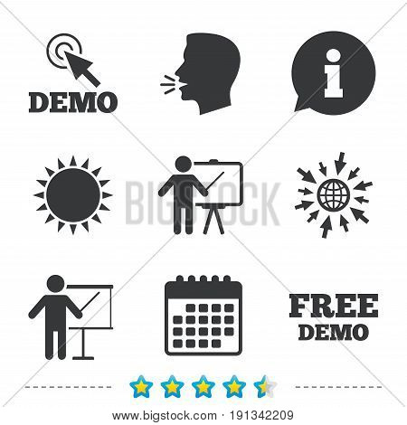 Demo with cursor icon. Presentation billboard sign. Man standing with pointer symbol. Information, go to web and calendar icons. Sun and loud speak symbol. Vector