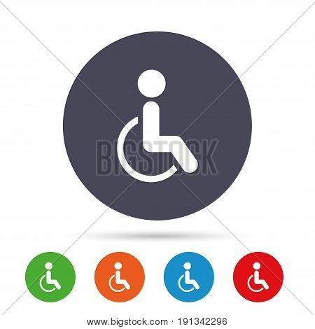 Disabled sign icon. Human on wheelchair symbol. Handicapped invalid sign. Round colourful buttons with flat icons. Vector