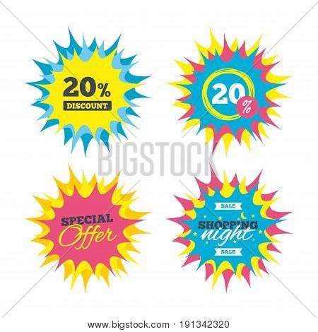 Shopping offers, special offer banners. 20 percent discount sign icon. Sale symbol. Special offer label. Discount star label. Vector