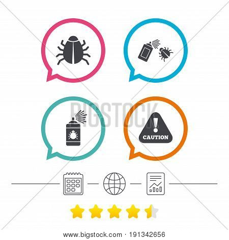 Bug disinfection icons. Caution attention symbol. Insect fumigation spray sign. Calendar, internet globe and report linear icons. Star vote ranking. Vector