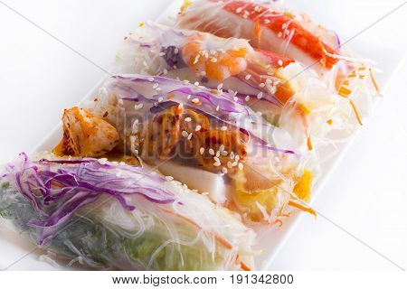 Vietnamese Spring Rolls, large variety of filled, rolled appetizers or dim sum found in East Asian and Southeast Asian cuisine