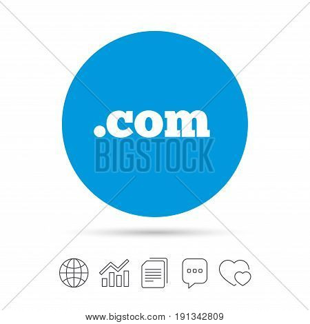 Domain COM sign icon. Top-level internet domain symbol. Copy files, chat speech bubble and chart web icons. Vector