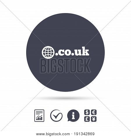 Domain CO.UK sign icon. UK internet subdomain symbol with globe. Report document, information and check tick icons. Currency exchange. Vector