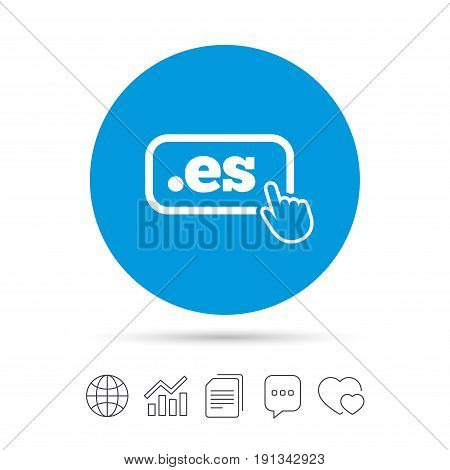 Domain ES sign icon. Top-level internet domain symbol with hand pointer. Copy files, chat speech bubble and chart web icons. Vector