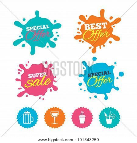 Best offer and sale splash banners. Drinks icons. Take away coffee cup and glass of beer symbols. Wine glass and cocktail signs. Web shopping labels. Vector