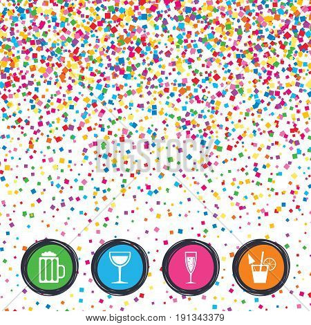 Web buttons on background of confetti. Alcoholic drinks icons. Champagne sparkling wine with bubbles and beer symbols. Wine glass and cocktail signs. Bright stylish design. Vector