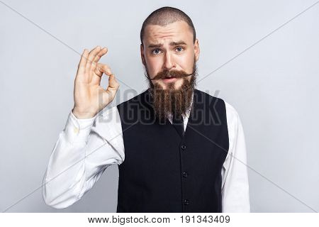 Agree. Handsome businessman with beard and handlebar mustache looking at camera with Ok sign. studio shot on gray background.