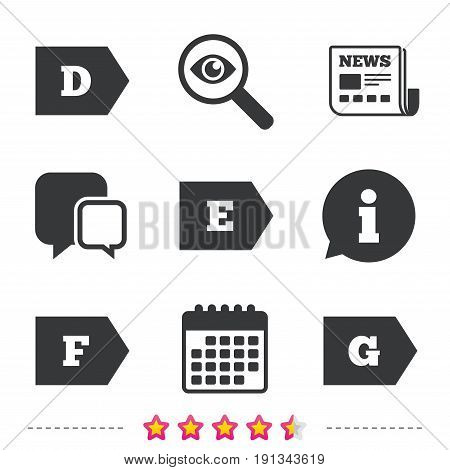 Energy efficiency class icons. Energy consumption sign symbols. Class D, E, F and G. Newspaper, information and calendar icons. Investigate magnifier, chat symbol. Vector