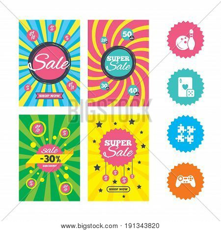 Web banners and sale posters. Bowling and Casino icons. Video game joystick and playing card with puzzles pieces symbols. Entertainment signs. Special offer and discount tags. Vector