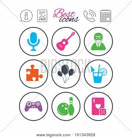 Information, report and calendar signs. Game, bowling and puzzle icons. Entertainment signs. Casino, carnival and alcohol cocktail symbols. Phone call symbol. Classic simple flat web icons. Vector