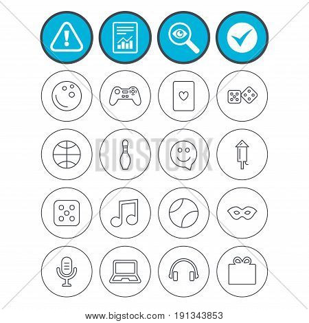 Report, check tick and attention signs. Entertainment icons. Game console joystick, notebook and microphone symbols. Poker playing card, dice and mask thin outline signs. Vector