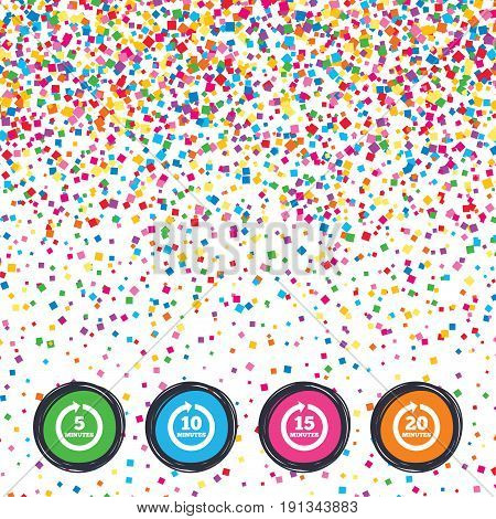 Web buttons on background of confetti. Every 5, 10, 15 and 20 minutes icons. Full rotation arrow symbols. Iterative process signs. Bright stylish design. Vector