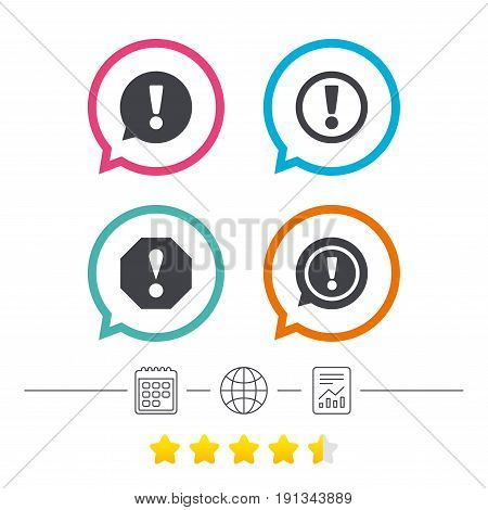 Attention icons. Exclamation speech bubble symbols. Caution signs. Calendar, internet globe and report linear icons. Star vote ranking. Vector