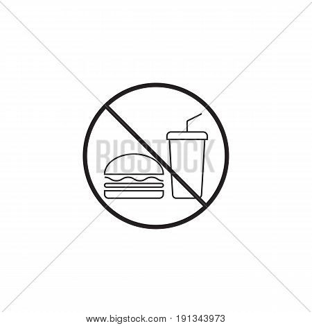 no food line icon, no eating prohibited sign, vector graphics, a linear pattern on a white background, eps 10.