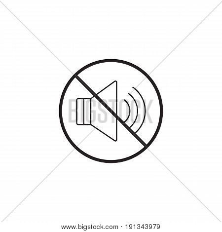 no noise line icon, no sound prohibited sign, vector graphics, a linear pattern on a white background, eps 10.