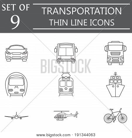 transport line icon set, public transportation movement symbols collection, vector sketches, logo illustrations, linear signs isolated on white background, eps 10.