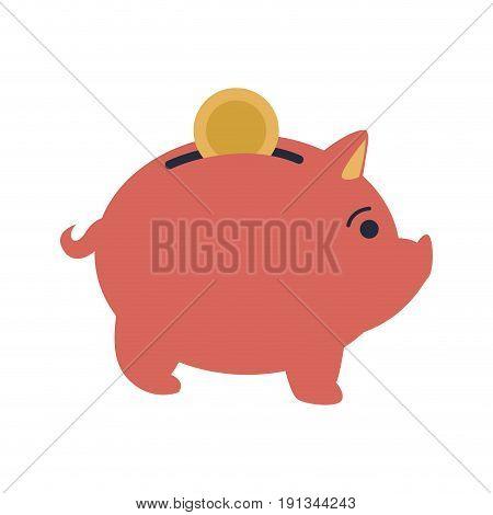 pink piggy put coin money banking vector illustration
