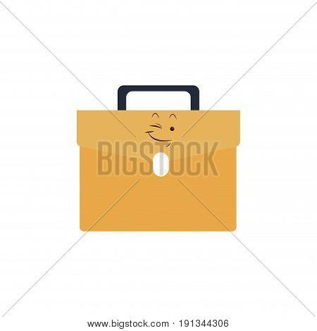 kawaii briefcase business portfolio bag cartoon vector illustration