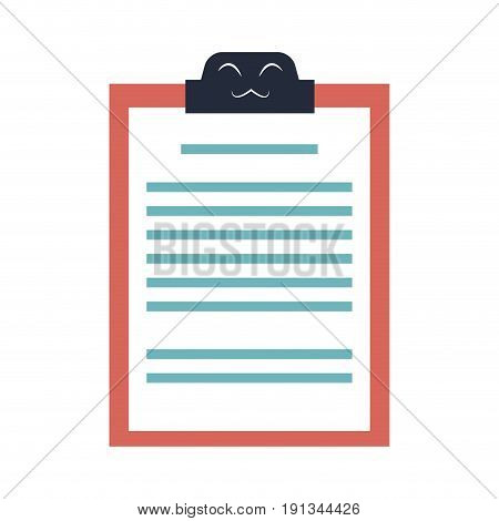 kawaii clipboard document report cartoon vector illustration