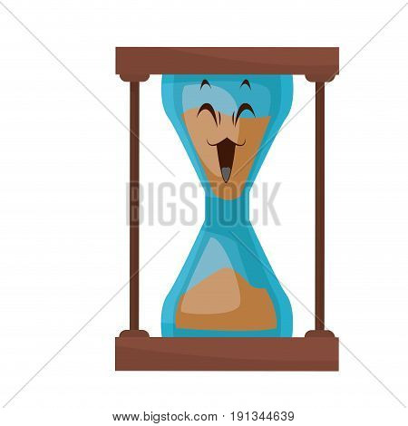 kawaii sand clock time glass cartoon vector illustration