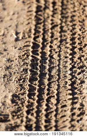trace of the tire tread . A photo